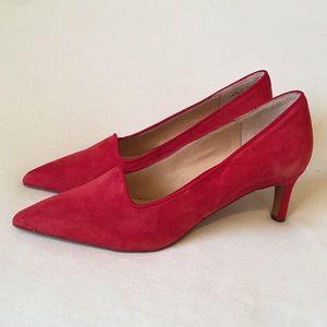 Franco Sarto red suede leather pumps